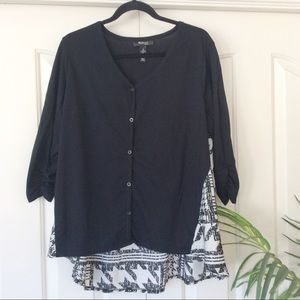 Style & Co Tops - Style & Co 1X Black White Long Sleeve Top